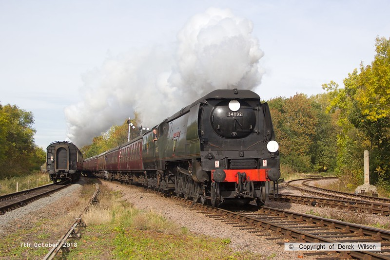 181007-039  Bulleid West Country class 4-6-2 No. 34092 City of Wells storms through Swithland with 2A11, the 11:15 Loughborough - Leicester North. The Bulleid West Country & Battle of Britain class were also used in the 1948 Exchange trials.
