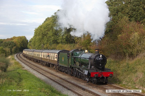 181007-058  GWR Modified Hall 4-6-0 No. 6990 Witherslack Hall is seen passing Kinchley Lane, powering 2C26, the 13:30 Loughborough - Rothley Brook.