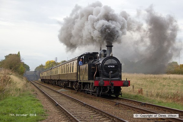 181007-078  LMS 3F Jinty 0-6-0T No. 47406 approaching Woodthorpe bridge with 2C32, the 14:45 Loughborough - Rothley Brook.