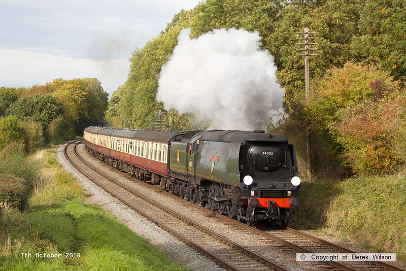181007-062  Bulleid West Country class 4-6-2 No. 34092 City of Wells is captured passing Kinchley Lane, powering 1A27, the 13:45 Loughborough - Leicester North.