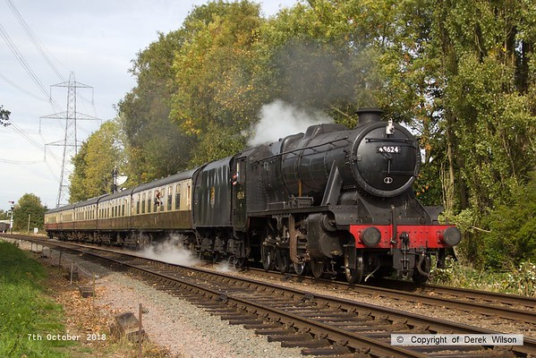 181007-056  LMS Stanier 8F 2-8-0 No. 48624 is seen approaching Rothley with 2C18, the 12:15 Loughborough - Rothley Brook.