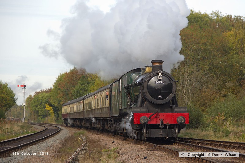 181007-034  GWR Modified Hall 4-6-0 No. 6990 Witherslack Hall is seen passing Swithland with 2C09, the 10:45 Loughborough - Rothley Brook. This loco took part in the 1948 exchange trials, having worked over the Great Central Main Line on the 24th & 25th June using the former LNER Dynamometer Car.