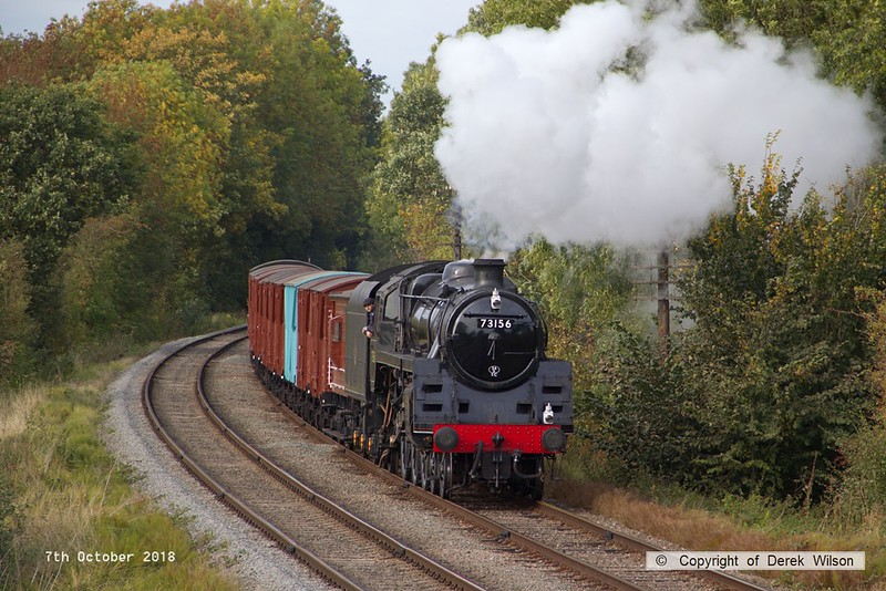 181007-070  BR 5MT 4-6-0 No. 73156 passing Kinchley Lane with  the vans, running as 7S29, 14:15 Loughborough - Swithland up loop.
