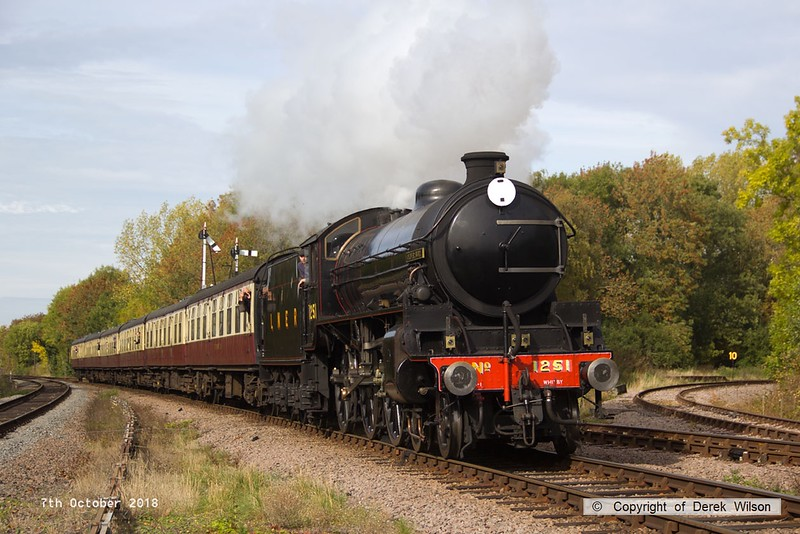 181007-055  LNER B1 4-6-0 No. 1264 (BR 61264) running in the guise of 1251 Oliver Bury is captured at Swithland with 2A16, the 12:00 Loughborough - Leicester North.