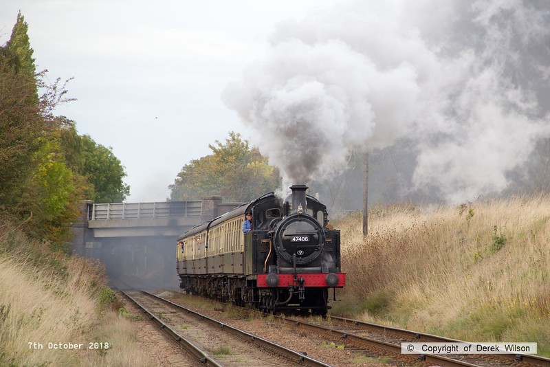 181007-075  LMS 3F Jinty 0-6-0T No. 47406 approaching Woodthorpe bridge with 2C32, the 14:45 Loughborough - Rothley Brook.