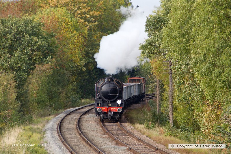 181007-064  LNER B1 4-6-0 No. 1264 (BR 61264) running in the guise of 1251 Oliver Bury, rounds the curve as it approaches Kinchley Lane with the mineral wagons, running as 9C28, the 14:00 Loughborough - Rothley Brook.