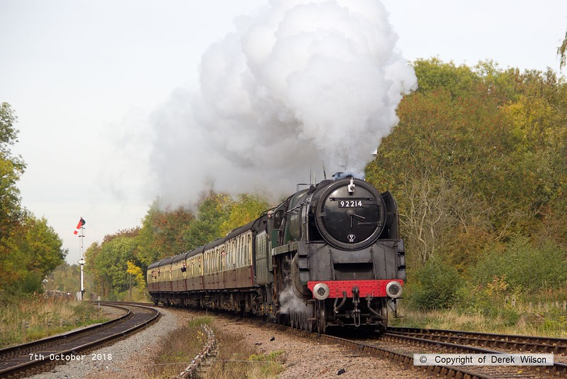 181007-029  BR 9F 2-10-0 No. 92214 Leicester City cantering past Swithland with 2A08, the 10:30 Loughborough - Leicester North.