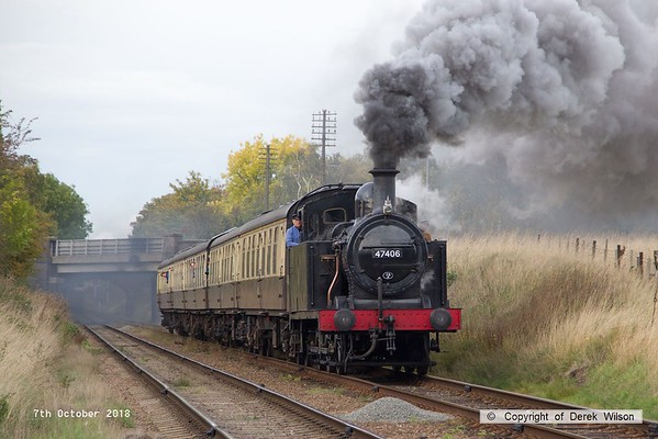 181007-077  LMS 3F Jinty 0-6-0T No. 47406 approaching Woodthorpe bridge with 2C32, the 14:45 Loughborough - Rothley Brook.