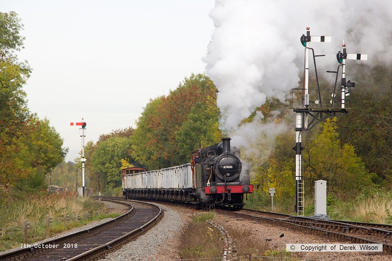 181007-023  LMS 3F 'Jinty' 0-6-0T No. 47406 trundles into Swithland up loop with the mineral wagons in tow. 9S07, 10:20 Loughborough - Swithland up loop.