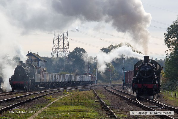181007-033  I never expected to capture a scene like this 50 years after the end of steam on BR!! Pulling out of the down loop is Ivatt 2MT 2-6-0 No. 46521 with 7D04, 10:35 Rothley Brook - Loughborough. To the left is BR standard 2MT 2-6-0 No. 78018 waiting for the right of way with 9W06, 11:05 Swithland - Loughborough.