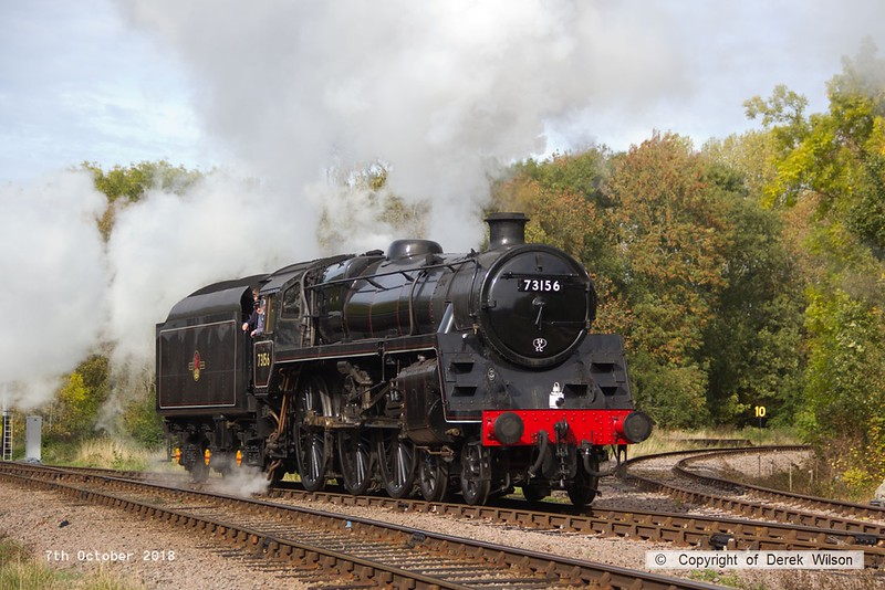 181007-051  BR standard 5MT No. 73156 is captured passing the Mountsorrel branch as it heads onto the up loop at Swithland.