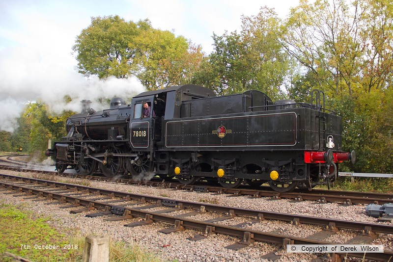 181007-027  BR 2MT 2-6-0 No. 78018 is seen reversing onto the up loop at Swithland.