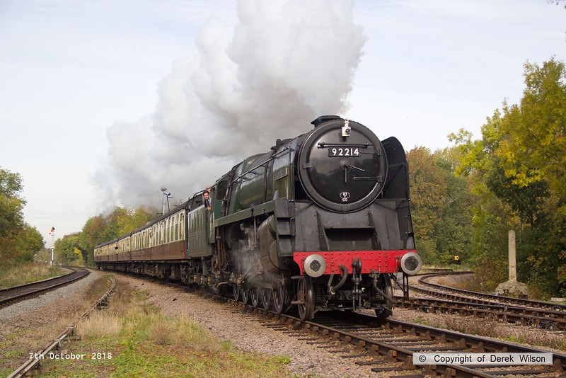 181007-031  BR 9F 2-10-0 No. 92214 Leicester City cantering past Swithland with 2A08, the 10:30 Loughborough - Leicester North.