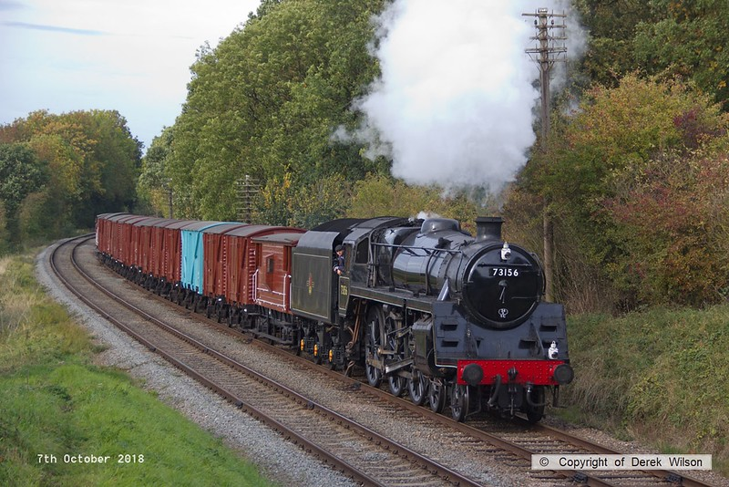 181007-074  BR 5MT 4-6-0 No. 73156 passing Kinchley Lane with  the vans, running as 7S29, 14:15 Loughborough - Swithland up loop.