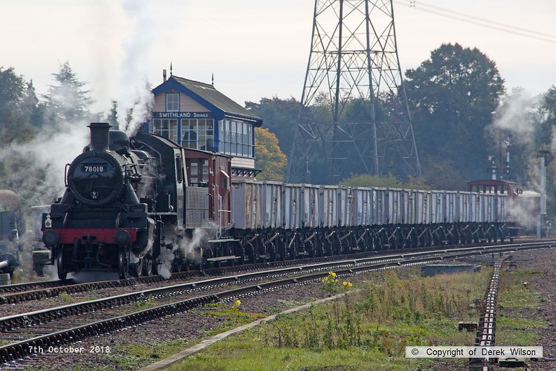 181007-032  BR standard 2MT 2-6-0 No. 78018 is seen with the mineral wagons in Swithland up loop..