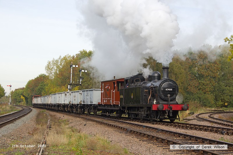 181007-025  LMS 3F 'Jinty' 0-6-0T No. 47406 trundles into Swithland up loop with the mineral wagons in tow. 9S07, 10:20 Loughborough - Swithland up loop.