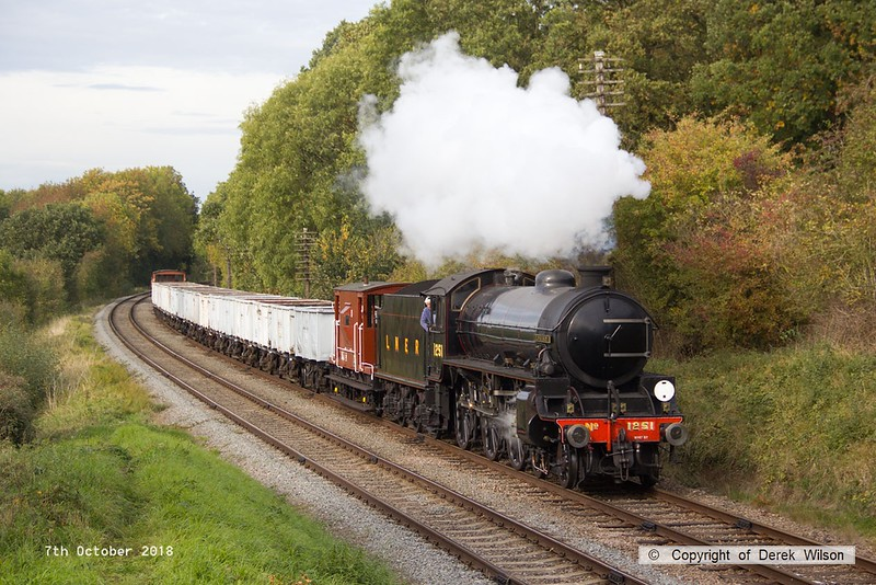 181007-069  LNER B1 4-6-0 No. 1264 (BR 61264) running in the guise of 1251 Oliver Bury, approaches Kinchley Lane with the mineral wagons, running as 9C28, the 14:00 Loughborough - Rothley Brook.