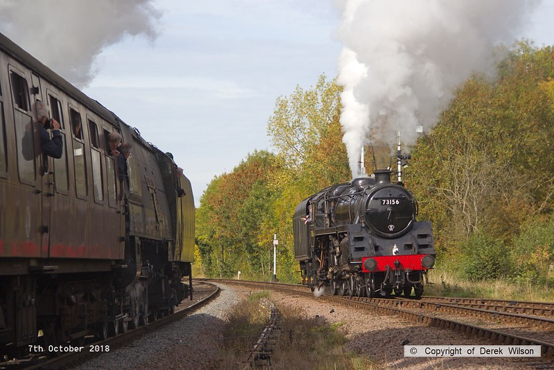 181007-048  BR standard 5MT No. 73156 is seen heading onto the up loop at Swithland whilst passing on the down main is Bulleid West Country light pacific No. 34092 City of Wells running tender-first with 2B11, the 12:00 Leicester North - Loughborough.