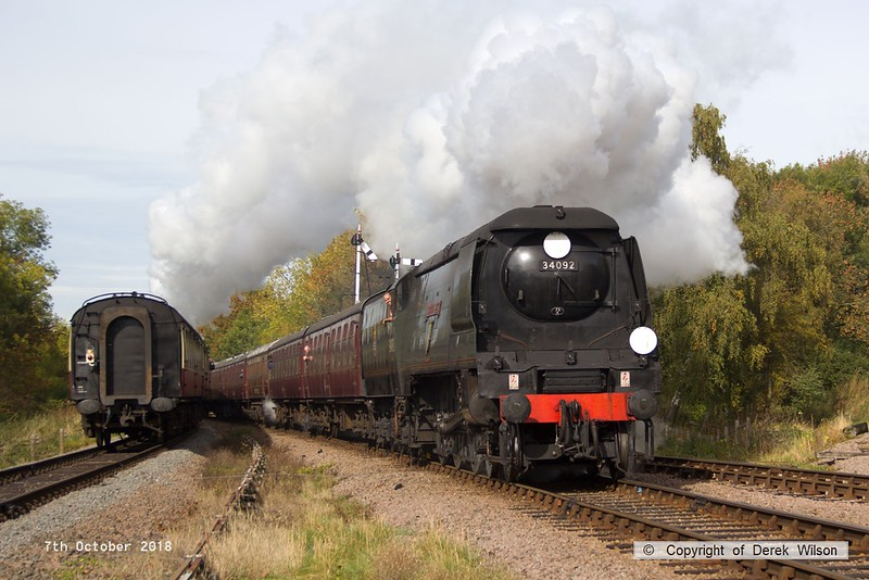 181007-038  Bulleid West Country class 4-6-2 No. 34092 City of Wells storms through Swithland with 2A11, the 11:15 Loughborough - Leicester North. The Bulleid West Country & Battle of Britain class were also used in the 1948 Exchange trials.