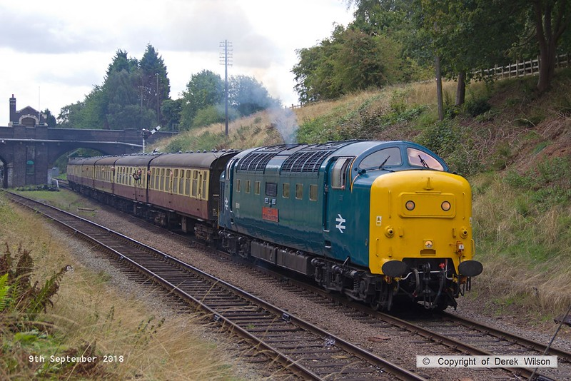 180909-037  English Electric 'Deltic' type 5 (class 55) No. 55019 Royal Highland Fusilier storms away from Rothley with 2B08, the 11:15 Leicester North - Loughborough.