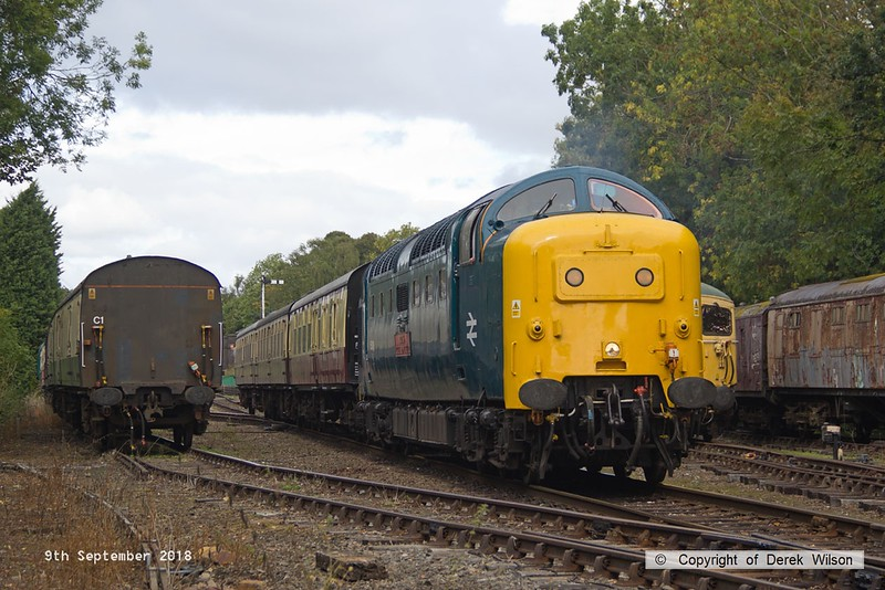 180909-047  English Electric 'Deltic' type 5 (class 55) No. 55019 Royal Highland Fusilier arriving at it's destination with 2C17, the 12:10 Loughborough - Rothley Brook. Just visible to the right is D6535, stabled between duties.