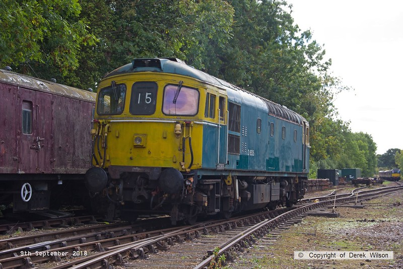 180909-041  BRCW type 3 (class 33) No. D6535 is seen resting at Rothley.
