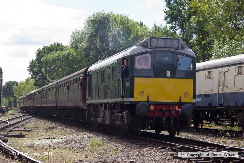 180909-043  BR type 2 (class 25) No. D5185 is captured pulling away with 2B13, the 12:05 Rothley Brook - Loughborough.