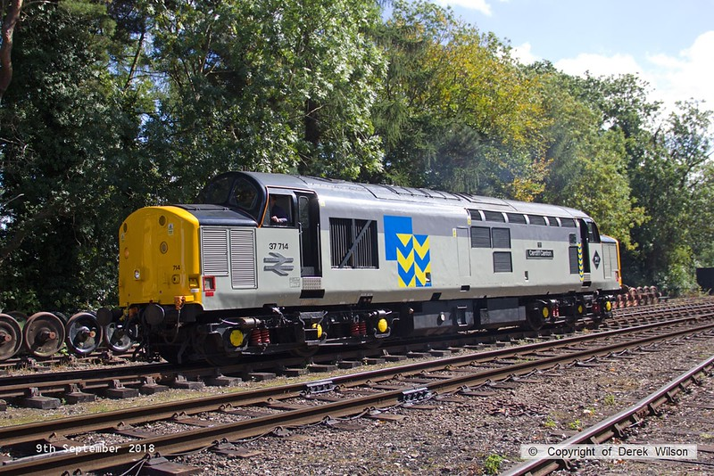 180909-066  Class 37 No. 37714 Cardiff Canton heads into the sidings at Rothley, after arriving with the TPO set