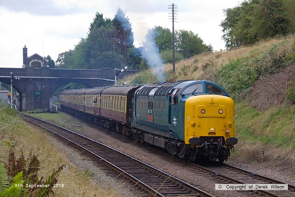 180909-035  English Electric 'Deltic' type 5 (class 55) No. 55019 Royal Highland Fusilier storms away from Rothley with 2B08, the 11:15 Leicester North - Loughborough.
