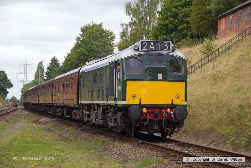 180909-040  BR type 2 (class 25) No. D5185 is captured arriving at Rothley with 2A13, the 11:20 Loughborough - Leicester North.