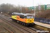 180402-003  Colas Rail Freight class 56 No. 56302 Peco is seen passing 'light' through Mansfield Woodhouse, running as 0Z56, 13:45 Bescot up engineers sidings - Doncaster C.H.S. (VSTP). The remnants of a overnight deposit of snow is still evident, but disappearing fast.