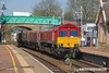 180419-001  DB Cargo class 66/0 No. 66044 is captured arriving at Shirebrook with three redundant coal hoppers in tow, running as 6E28 11:30 Belmont Down Yard - Shirebrook, WH Davis.