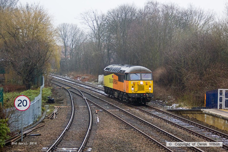 180402-001  Colas Rail Freight class 56 No. 56302 Peco is seen passing 'light' through Mansfield Woodhouse, running as 0Z56, 13:45 Bescot up engineers sidings - Doncaster C.H.S. (VSTP). The remnants of a overnight deposit of snow is still evident, but disappearing fast.