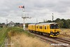 180817-002  Network Rail class 950 test unit No. 950001 pulls away from Thoresby Colliery Junction with 2Q08, 07:55 Burton Wetmore Sidings - Burton Wetmore Sidings.