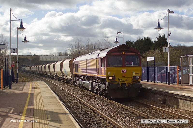 180220-003  Ex DB Cargo class 66 No. 66184 is captured passing through Whitwell on the Robin Hood Line, powering train 6M78, 11:45 Chaddesden sidings (Derby) - Doncaster down decoy. 66184 is one of ten 66's purchased from DB Cargo by GB Railfreight, after it has been repainted into GB livery it will be renumbered 66787.