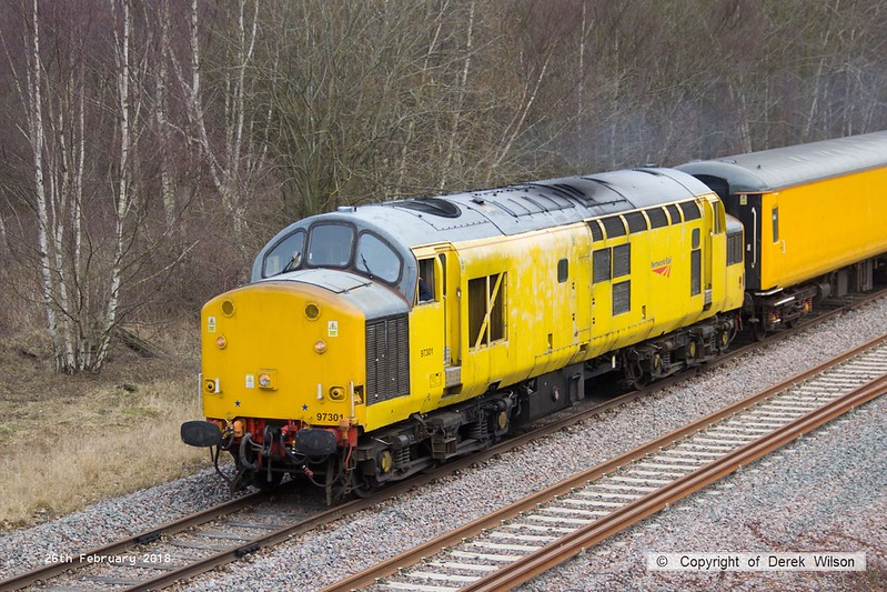180226-019  Network Rail class 97 No. 97301 is captured near Boughton Junction on the High Marnham Test Track, powering a test train which is visiting the test track for callibrating.