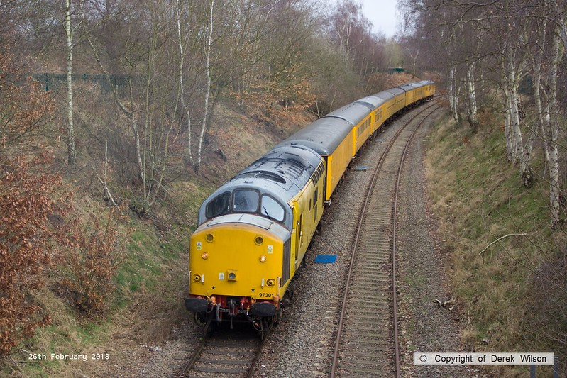 180226-020  Network Rail class 97 No. 97301 is captured near School Lane, Ollerton, on the High Marnham Test Track, powering a test train which is visiting the test track for callibrating.