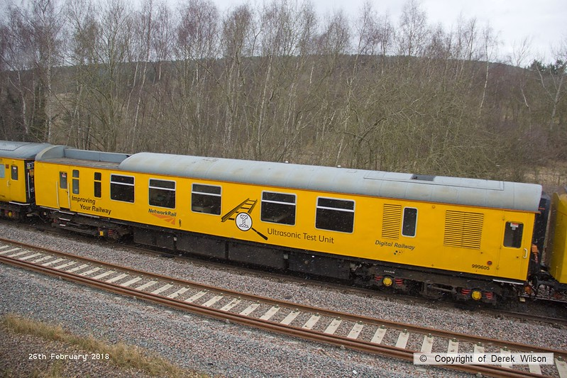 180226-005  Network Rail ultrasonic test train coach No. 999605, seen on the High Marnham Test Track.
