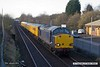 180125-001  Unbranded DRS blue class 37 No. 37607 which is owned by HNRC, but on hire to Colas Rail Freight is captured passing Tenter Lane, Mansfield, powering test train 3Q26, 08:25 Derby RTC - Derby RTC. DBSO No. 9701 was at the rear.  This went via Spondon, Toton, Pinxton, Shirebrook, then back as far as Langley Mill, then to Shirebrook again, & returned same route to the RTC.