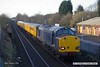 180125-003  Unbranded DRS blue class 37 No. 37607 which is owned by HNRC, but on hire to Colas Rail Freight is captured passing Tenter Lane, Mansfield, powering test train 3Q26, 08:25 Derby RTC - Derby RTC. DBSO No. 9701 was at the rear.  This went via Spondon, Toton, Pinxton, Shirebrook, then back as far as Langley Mill, then to Shirebrook again, & returned same route to the RTC.