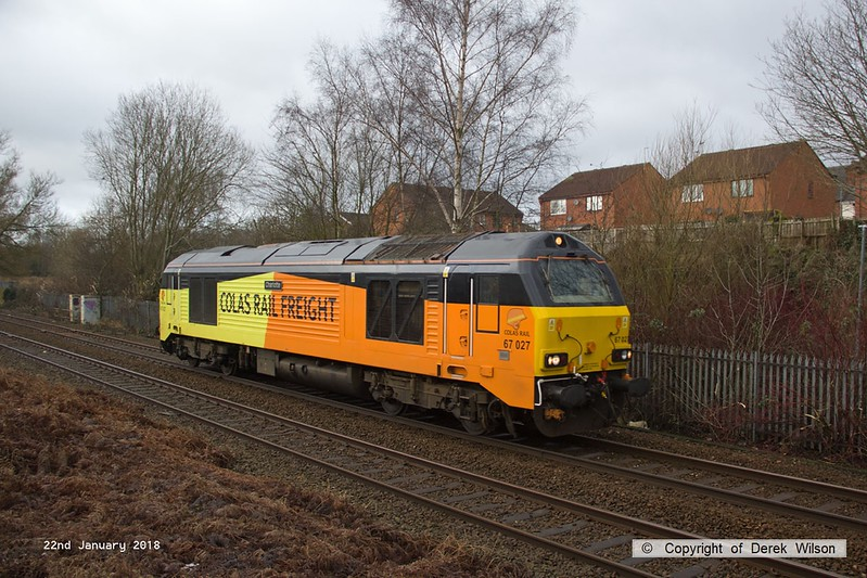 180122-002  Colas Rail Freight class 67 No. 67027 Charlotte is captured passing Mansfield with route learner 0Z95, 09:00 Derby RTC - Derby RTC.