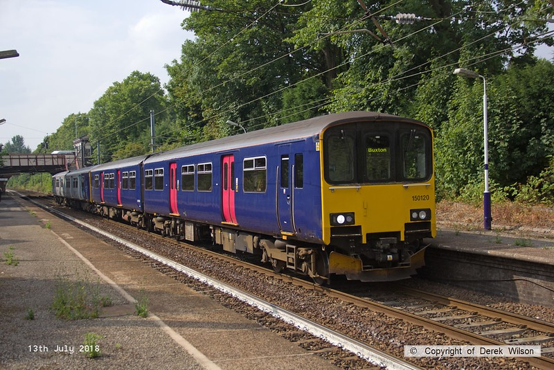 180713-114  Northern class 150 units no's 150120 in unbranded GWR livery & 150112 call at Davenport with 2B34, the 16:11 Manchester Piccadilly - Buxton.