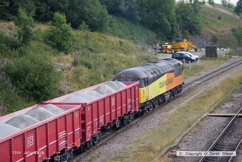 180713-105  Colas Rail Freight class 56 No. 56113 is seen shunting at Dove Holes.