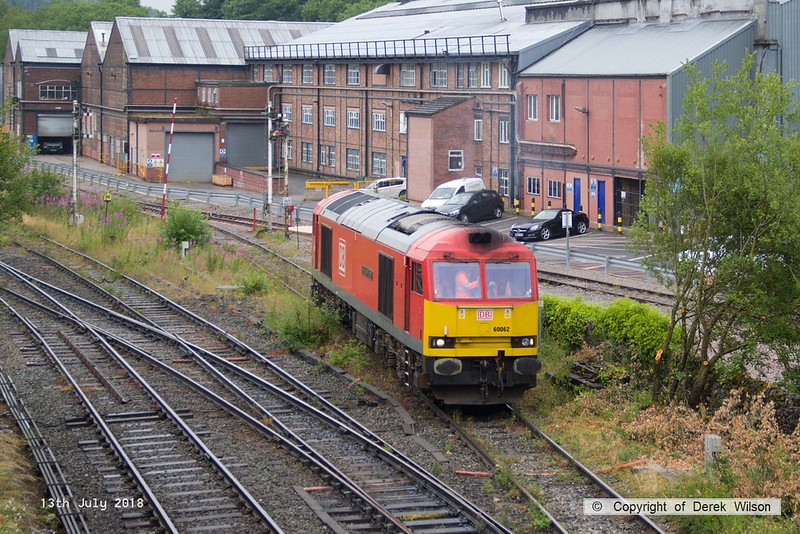 180713-065  DB Cargo class 60 No. 60062 Stainless Pioneer is seen passing Great Rocks Junction, running 'light' from Tunstead to Peak Forest.