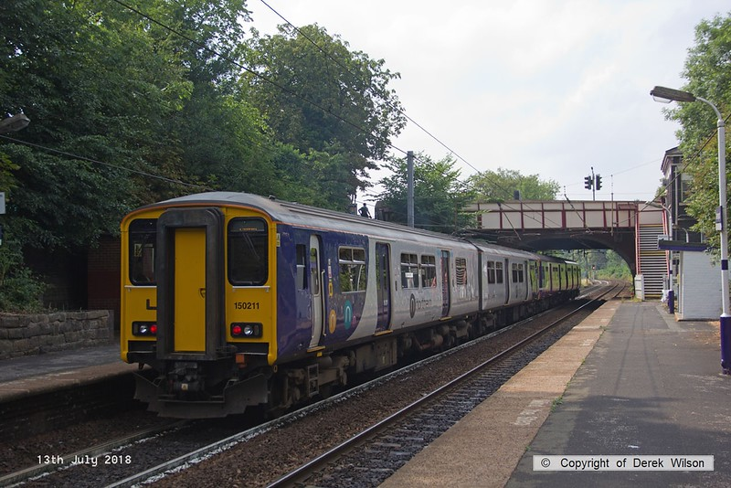 180713-113  Northern class 150 units no's 150115 & 150211 are seen pulling away from Davenport with 2B37, the 15:34 Buxton - Manchester Piccadilly.