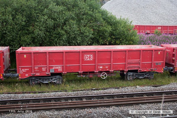 180713-071  Seen at Peak Forest is DB Cargo bogie box wagon, type MMA No. 91 70 5500 388-0. Built in Romania by Astra Rail.