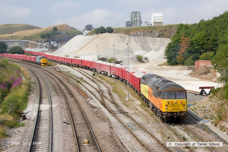 180713-100  Colas Rail Freight class 56 No. 56113 is seen shunting at Dove Holes, to the left is Direct Rail Services class 37/7 No. 37716. Both loco's are on hire to Victa Railfreight for shunting duty.