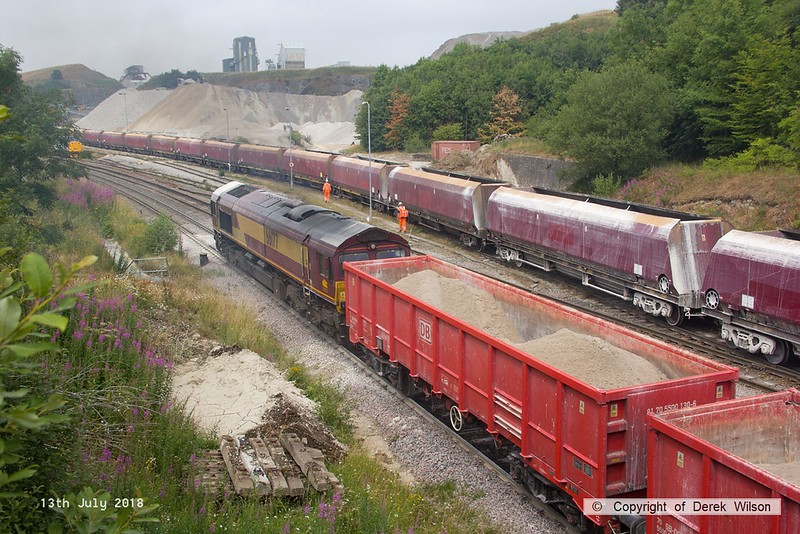 180713-084  DB Cargo class 66/0 No. 66177 is captured passing Peak Forest with train 6H52, 13:07 Dowlow , Briggs sidings - Ashburys S.S.