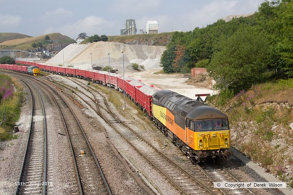 180713-102  Colas Rail Freight class 56 No. 56113 is seen shunting at Dove Holes, to the left is Direct Rail Services class 37/7 No. 37716. Both loco's are on hire to Victa Railfreight for shunting duty.