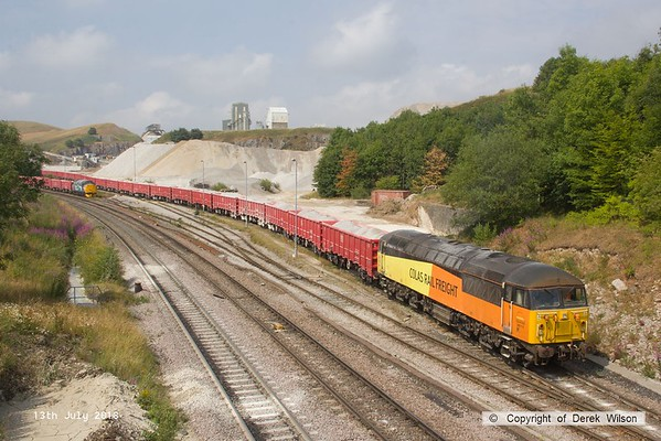 180713-104  Colas Rail Freight class 56 No. 56113 is seen shunting at Dove Holes, to the left is Direct Rail Services class 37/7 No. 37716. Both loco's are on hire to Victa Railfreight for shunting duty.